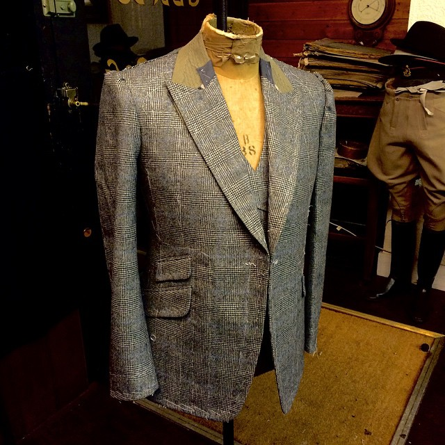 Flannel Prince of Wales, single breasted lounge jacket with double breasted waistcoat. #bespoke #waistcoat #bespoketailoring #connockandlockie